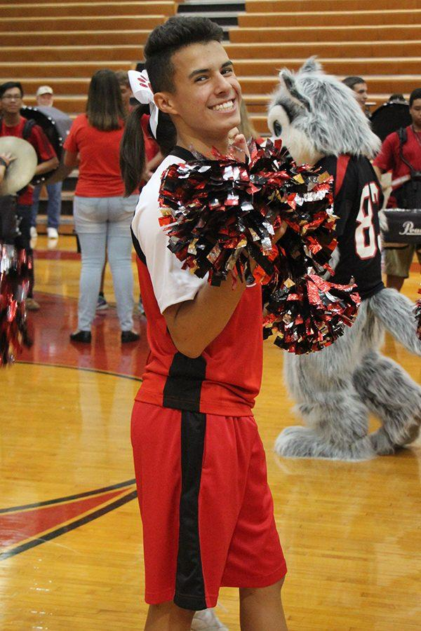 Tyler Chapa warms up at fall pep rally during 7th period.
