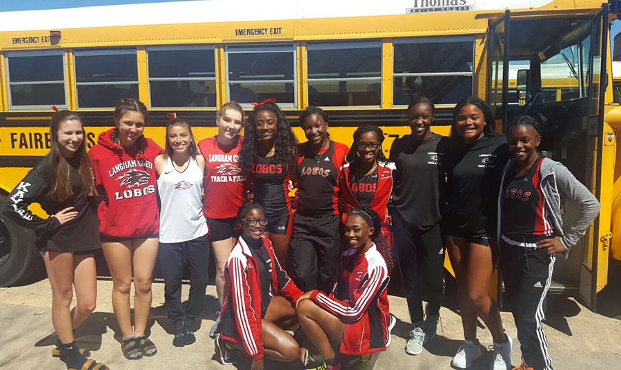JV Track poses before the district meet on Thursday, April 6th. The team took third overall.