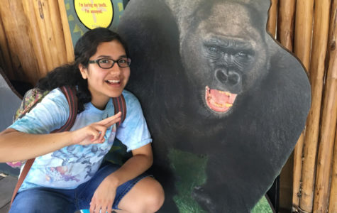 Junior Danielle Bishop poses with a cardboard cutout of a gorilla.