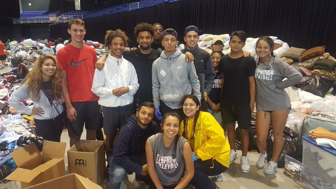 Students volunteering at the Berry Center