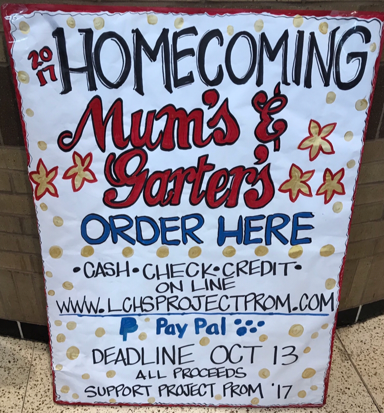 Homecoming Mums and Garters are on sale.