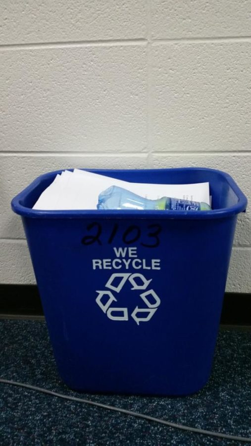 Recycle all of your papers and plastic bottles in the blue bins you see around the school.
