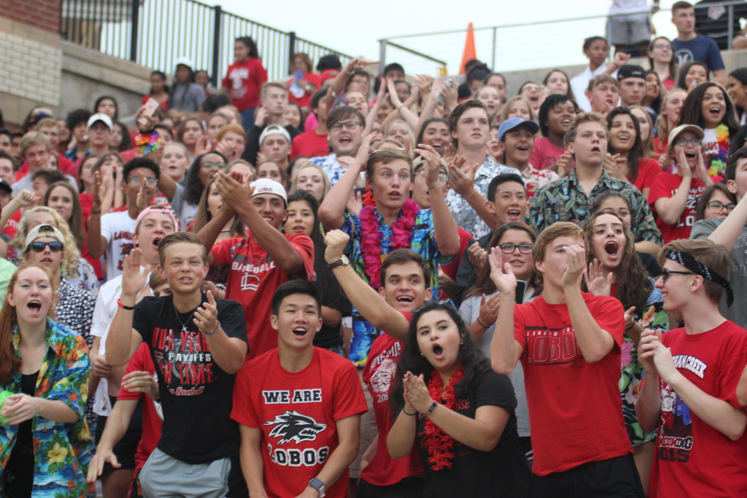 Fans cheer during the Varsity Football vs Cy Falls game Sept 21st. Lobos won 38-12.