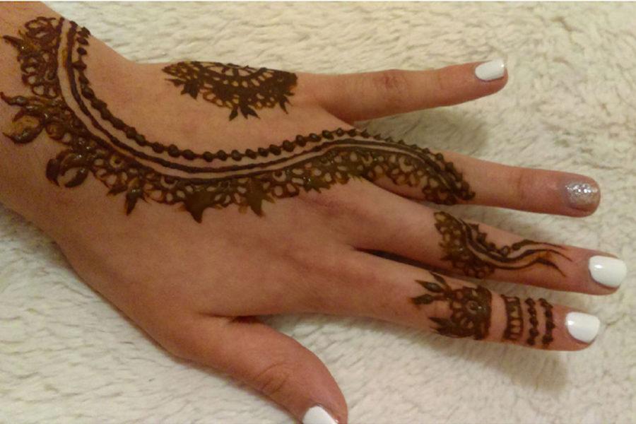 Junior Iflah Khan shows off her henna.
