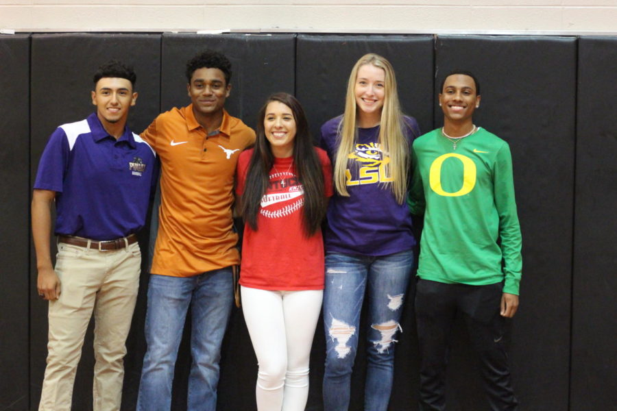 From left to right- Alex Martinez, Korey Holland,  Bianca Gies, Whitney Foreman, Eric Edwards