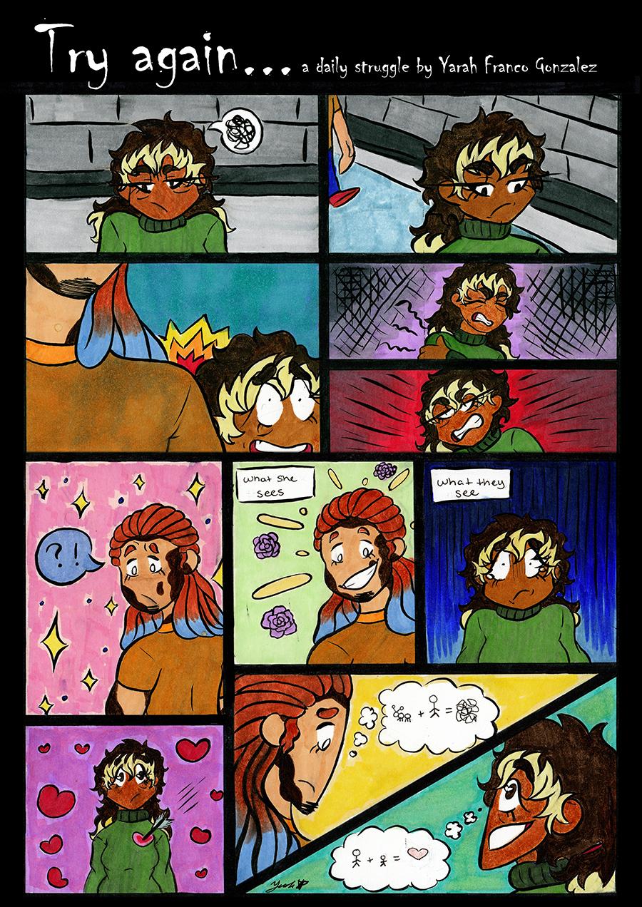Yarah Franco Gonzalez A comic strip showing the daily struggle of high school life.