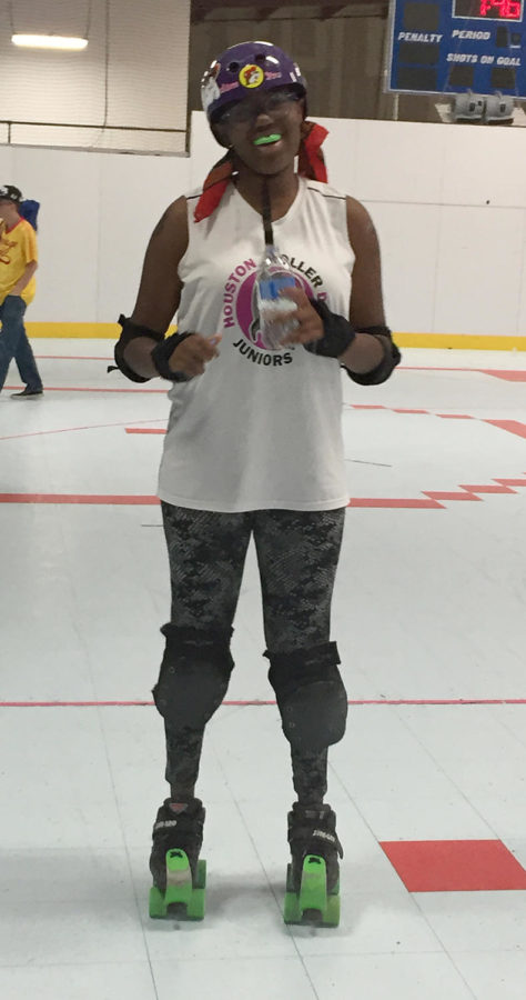 Junior Zahara Latson at a Roller Derby practice.