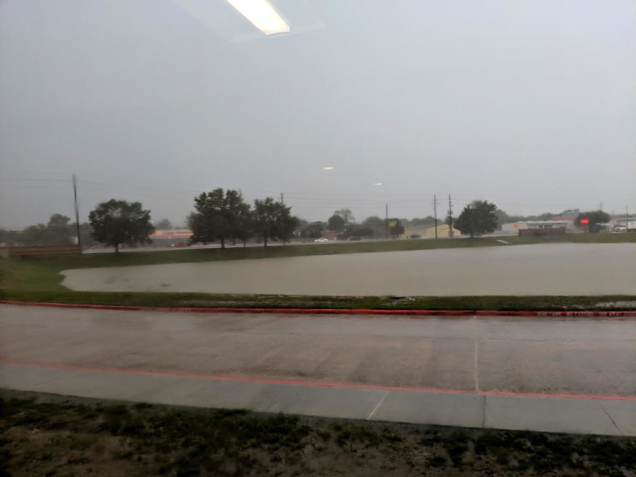 Lobo Lake filling up with rain water as of 2pm.