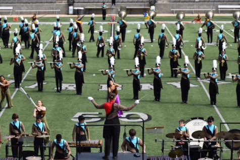 "The Lobo Band performing their 2019 marching show ""As Time Goes By"""