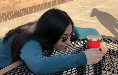 Senior Sarah Vargas patiently makes an exposure with her pinhole camera made from a Pringles can during 2nd period Photography. Photography students use pinhole cameras to help better understand the principles of photography and the physics of light.