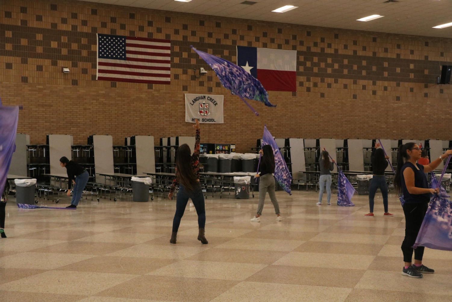 Color Guard Practicing for auditions for Winter Guard.