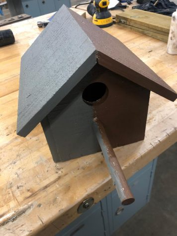 One of the birdhouses created by Woodshop students.